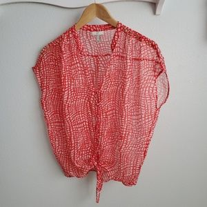 Joie red and white silk top S